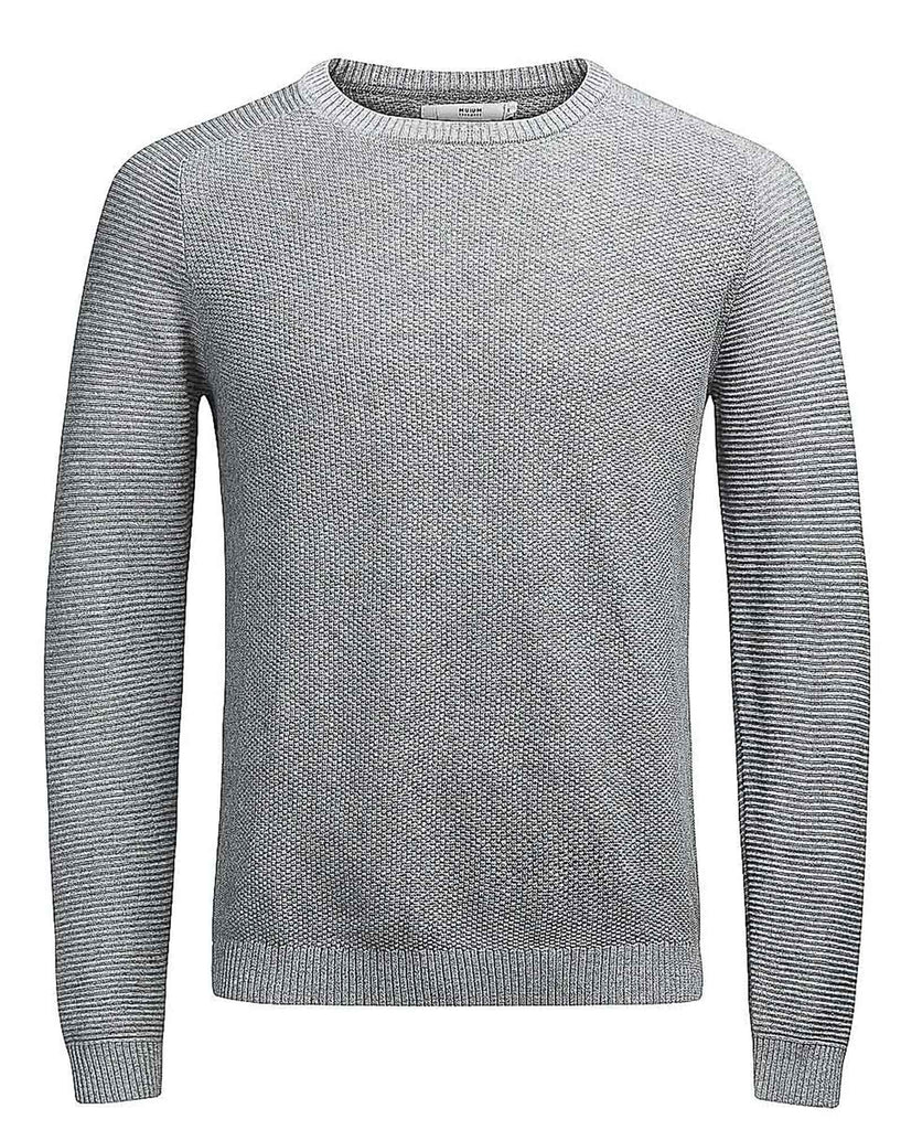 Pullover homme gris col rond maille