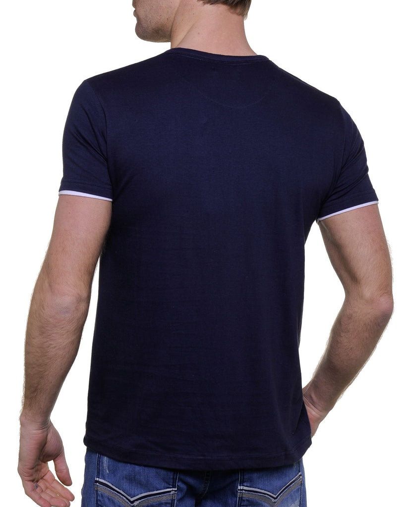 Tee-shirt bleu col V fantaisie double tee-shirt