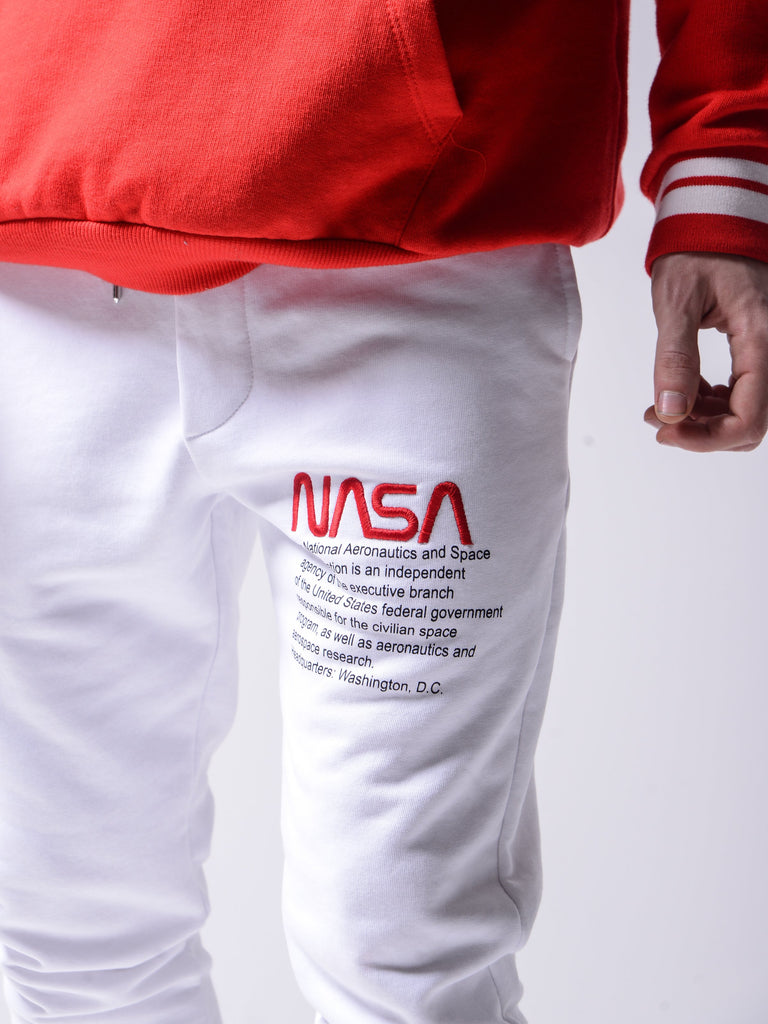 Nasa Sweat pants type Jogging slim blanc brodé pour homme