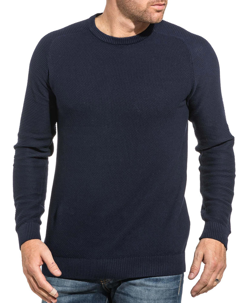 Pull homme maille navy col rond