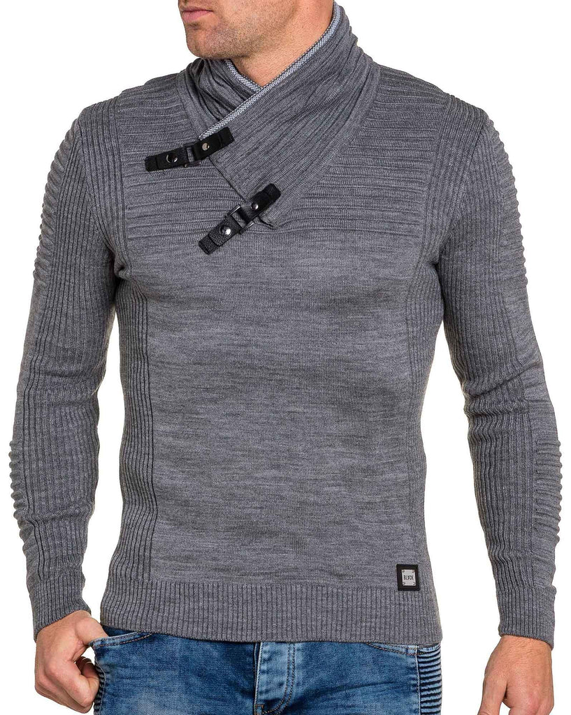 Pull fin homme gris maille relief