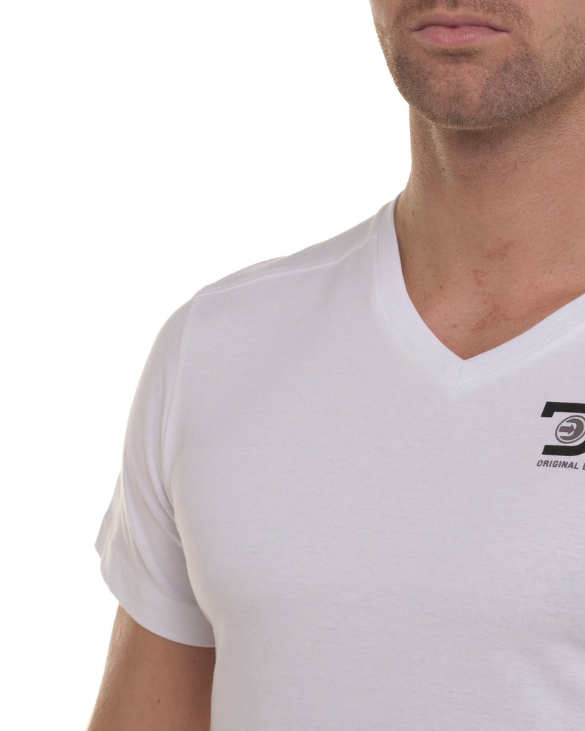 T-shirt homme blanc manches courtes col v