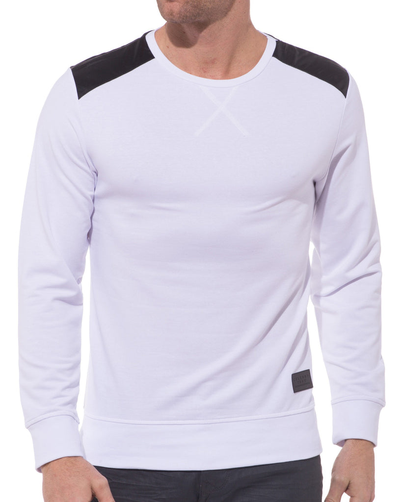 Sweat blanc empiècements simili cuir