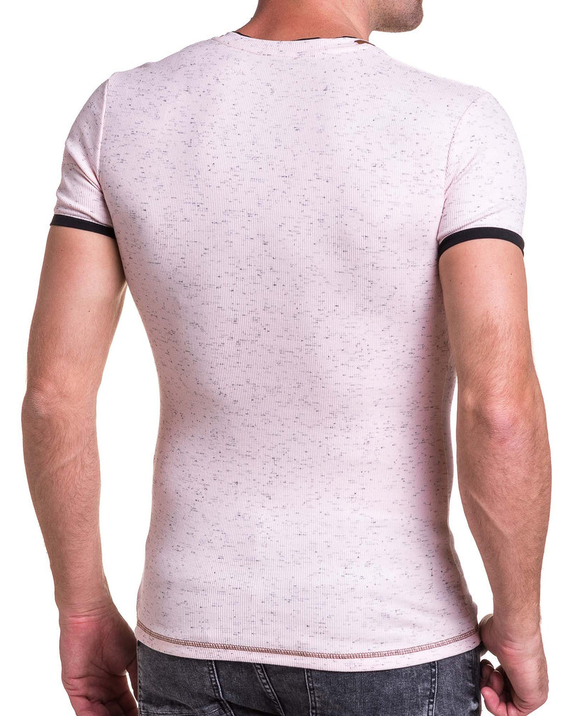 Tee-shirt homme rose chiné moulant col V