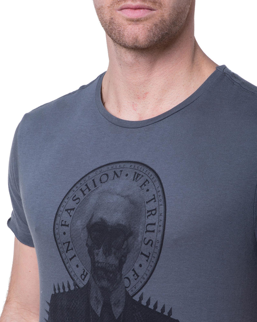 Tshirt homme col rond gris