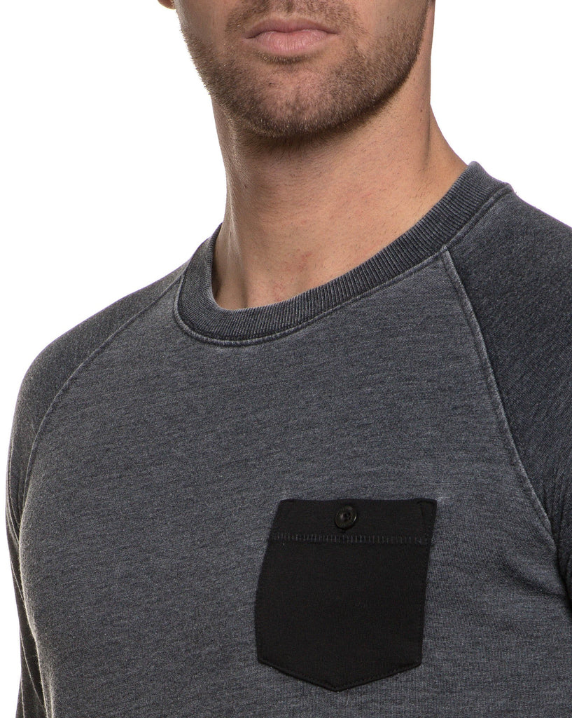 Sweat homme gris charcoal poche poitrine