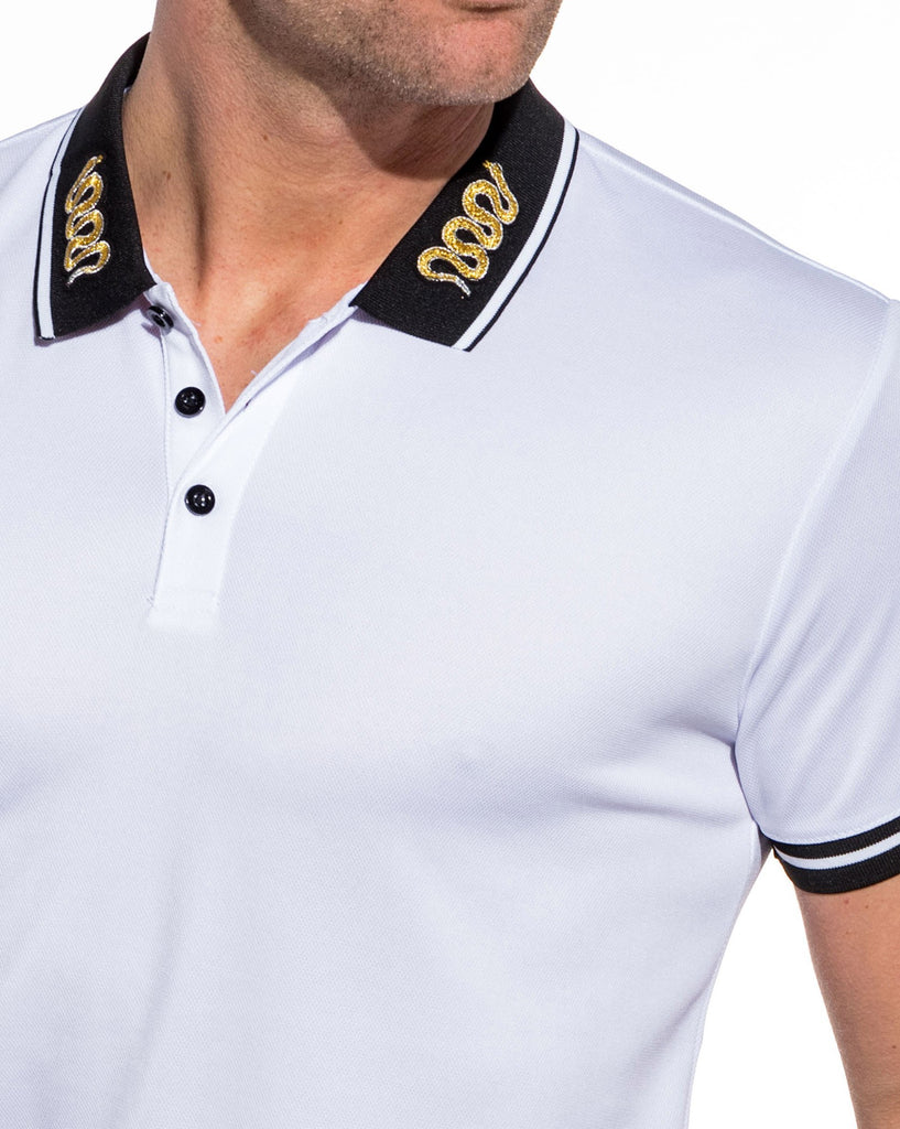 Polo blanc patch Snake sur le col  homme