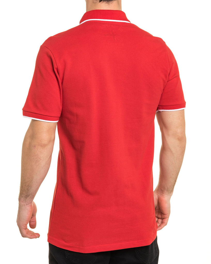 Polo piqué homme basic rouge broderie sports nautiques
