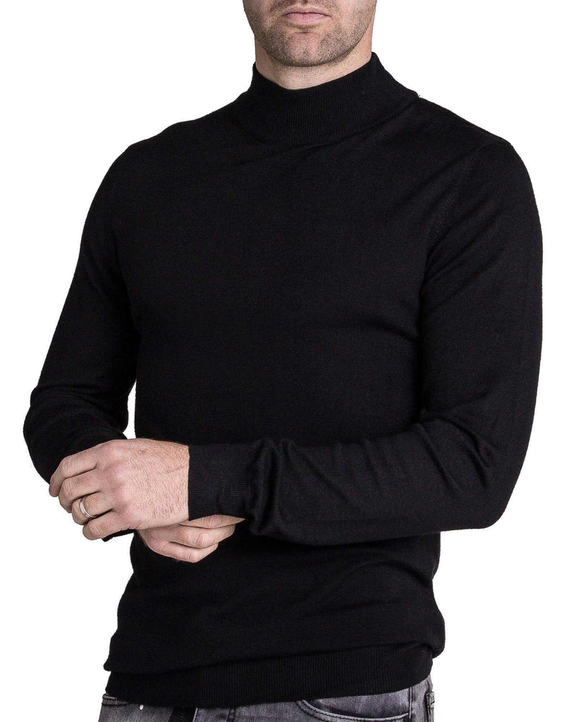 Pull bleu marine col montant pour homme