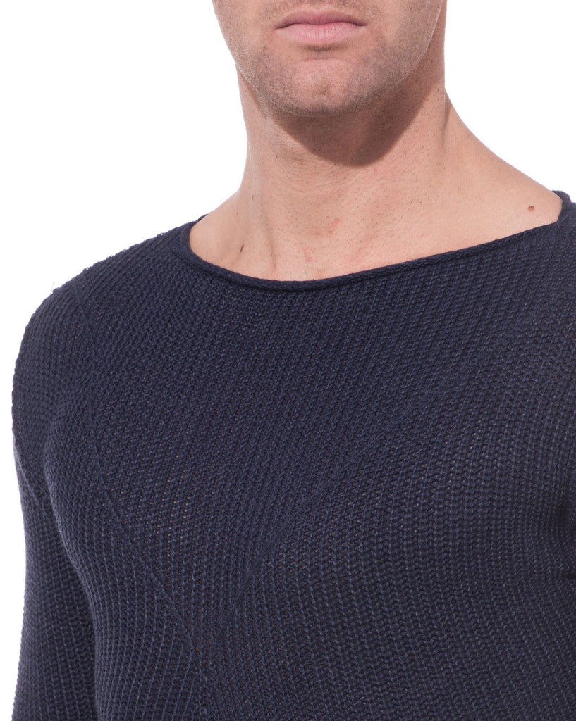 Pull Basique Bleu Navy Col Rond
