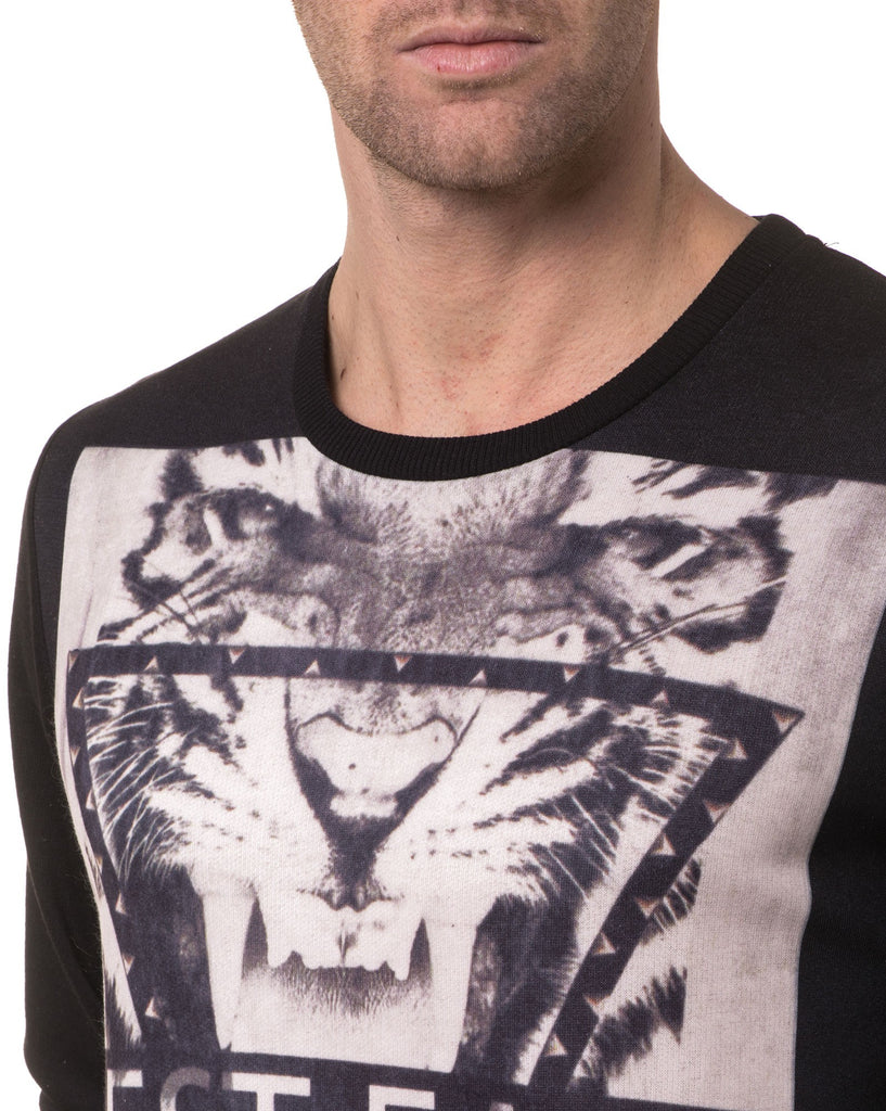 Pull Noir Homme Col rond