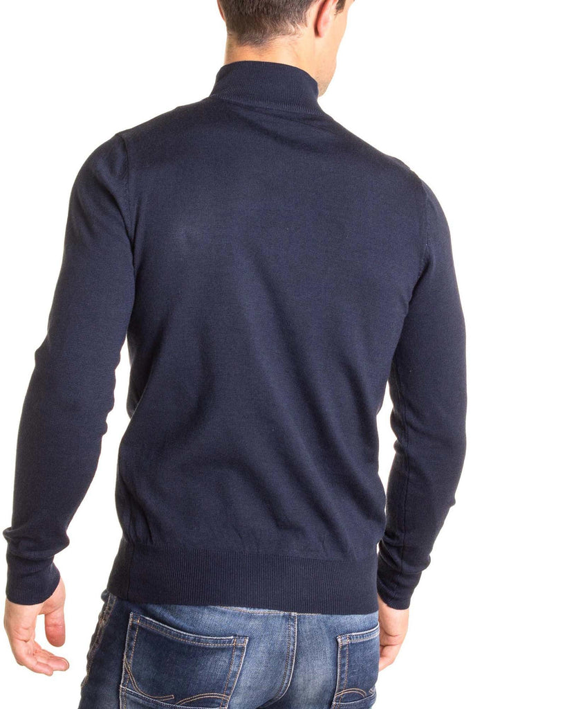 Pull 9622 basic navy col montant