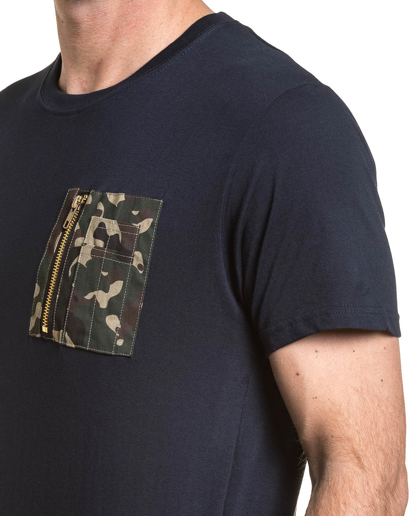 Tee-shirt homme navy poche zippée camouflage