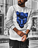 Sweat-shirt Tigre Blanc col rond pour Homme