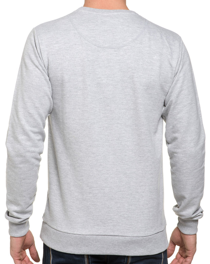 Sweat Gris Col Rond Imprimé Used