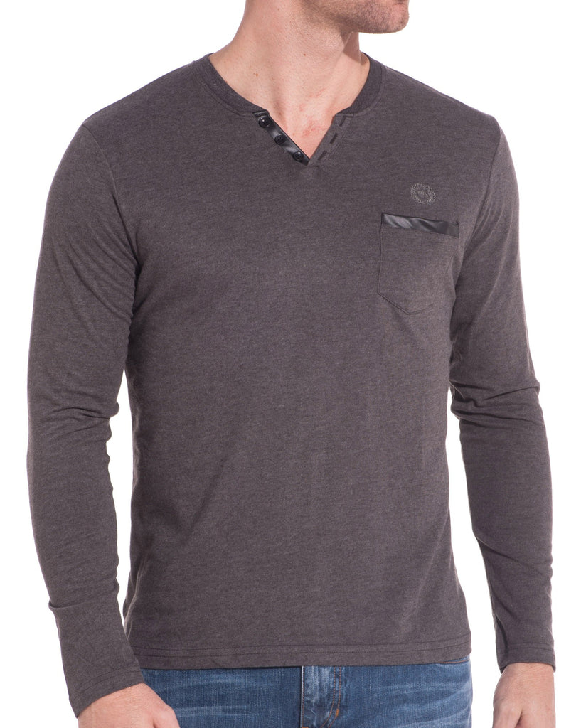 Tee shirt manches longues gris anthracite