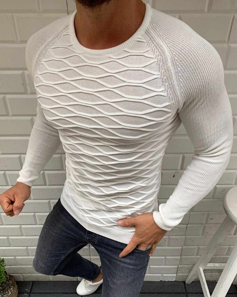 Pull uni blanc Col rond avec maille relief Homme