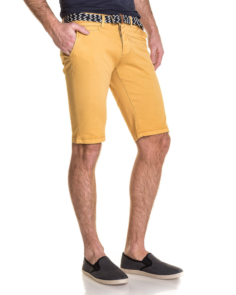 Bermuda homme moutarde chino 5 poches