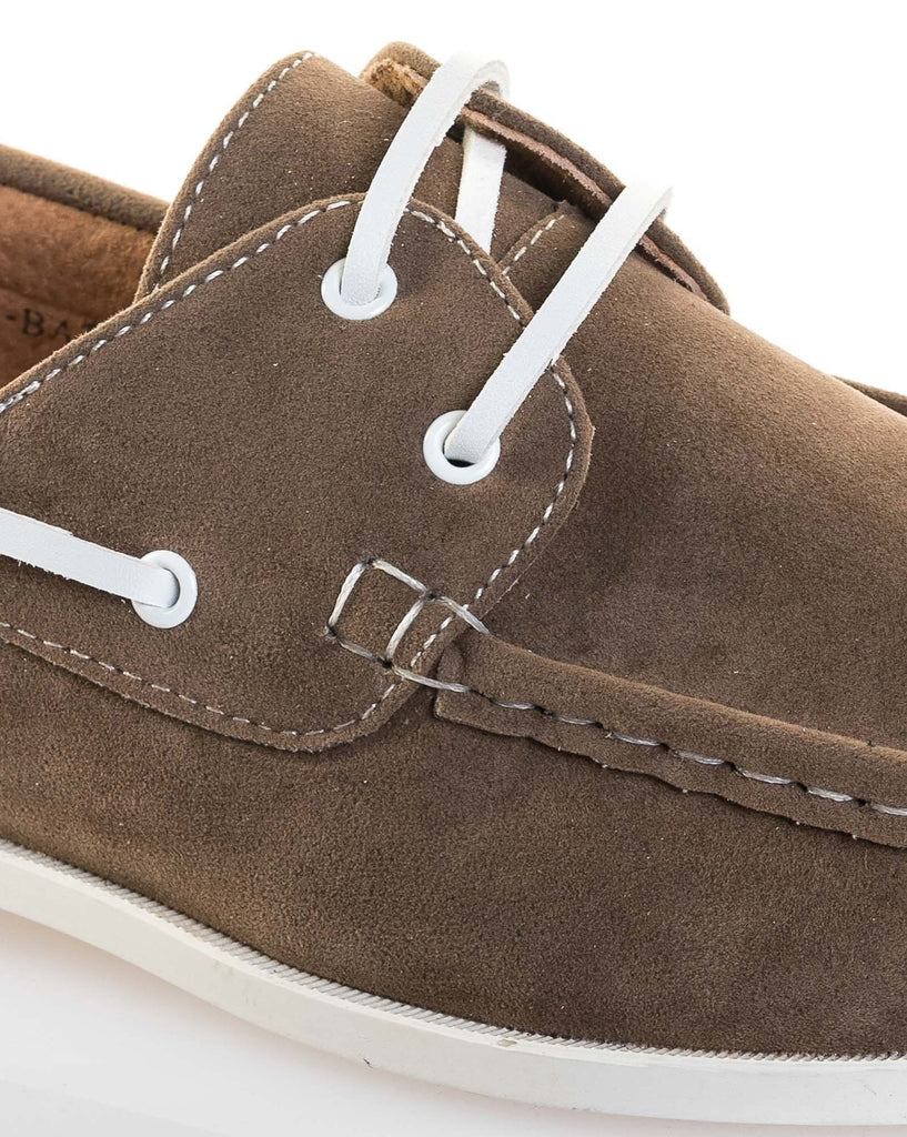 Chaussure bateau homme taupe stylé effet daim