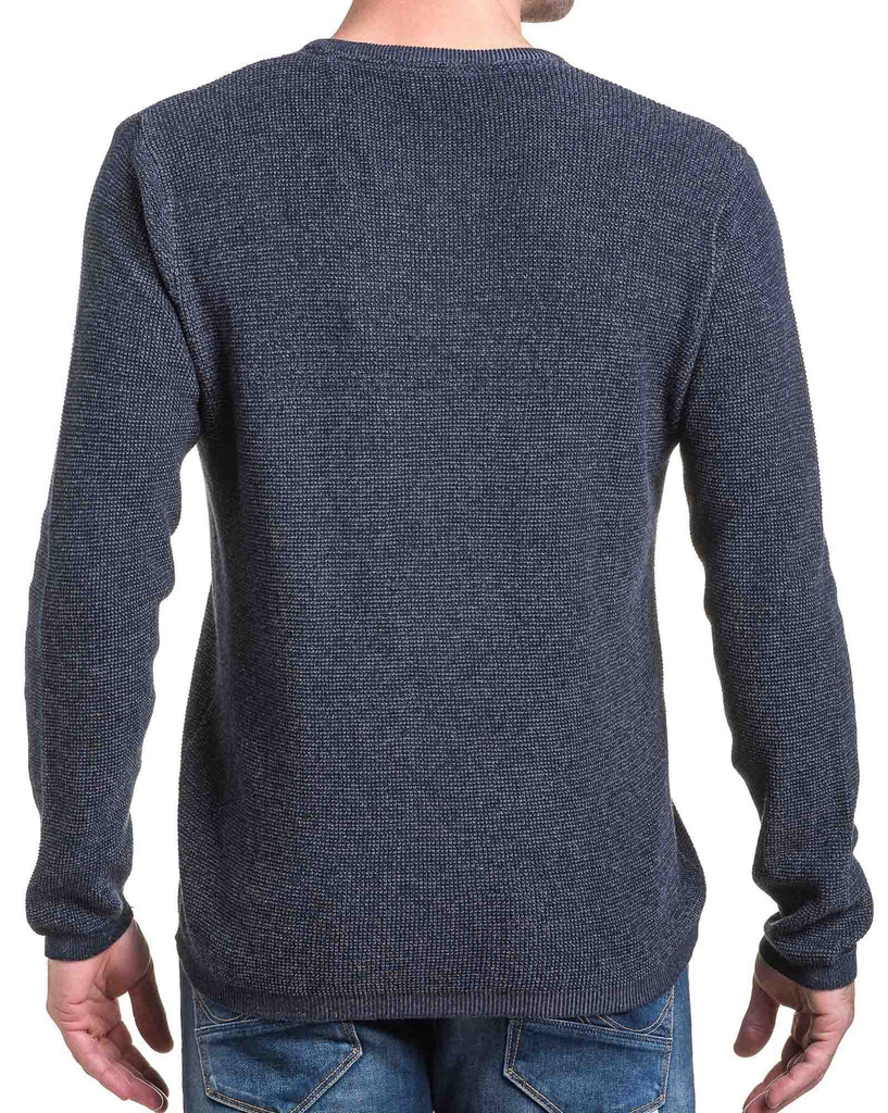 Pull homme gris maille col V à boutons fantaisie