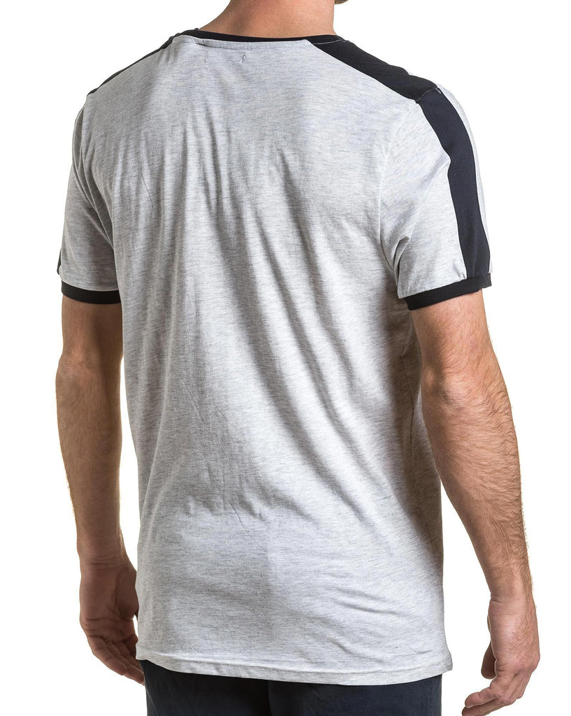 tee-shirt homme basic gris chiné et navy