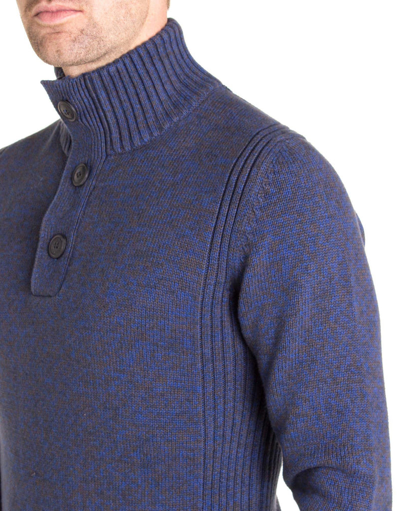 Pull grosse maille homme KWC206 navy col boutons zippé