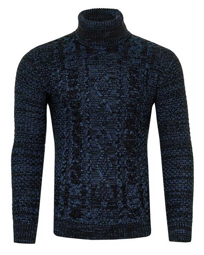 Pull col roulé homme bleu maille tricot