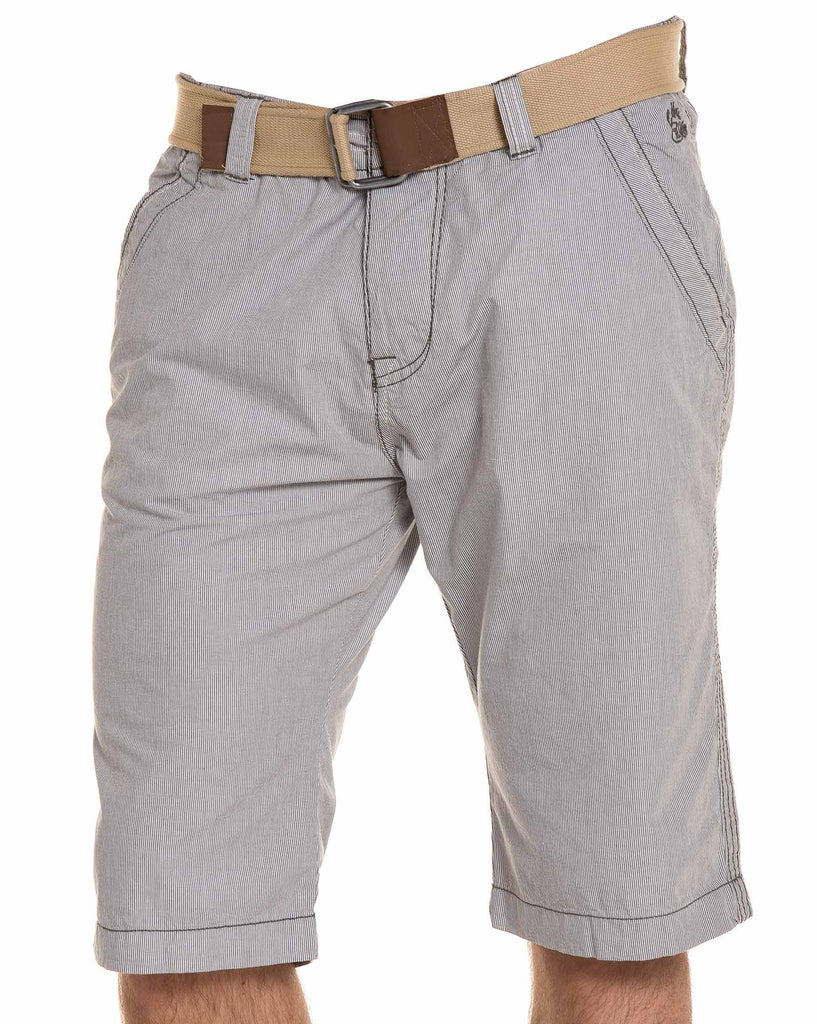 Bermuda Chino Gris A Rayures Homme