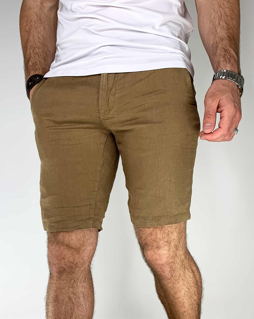 Short beige marron en lin aspect lin naturel pour home