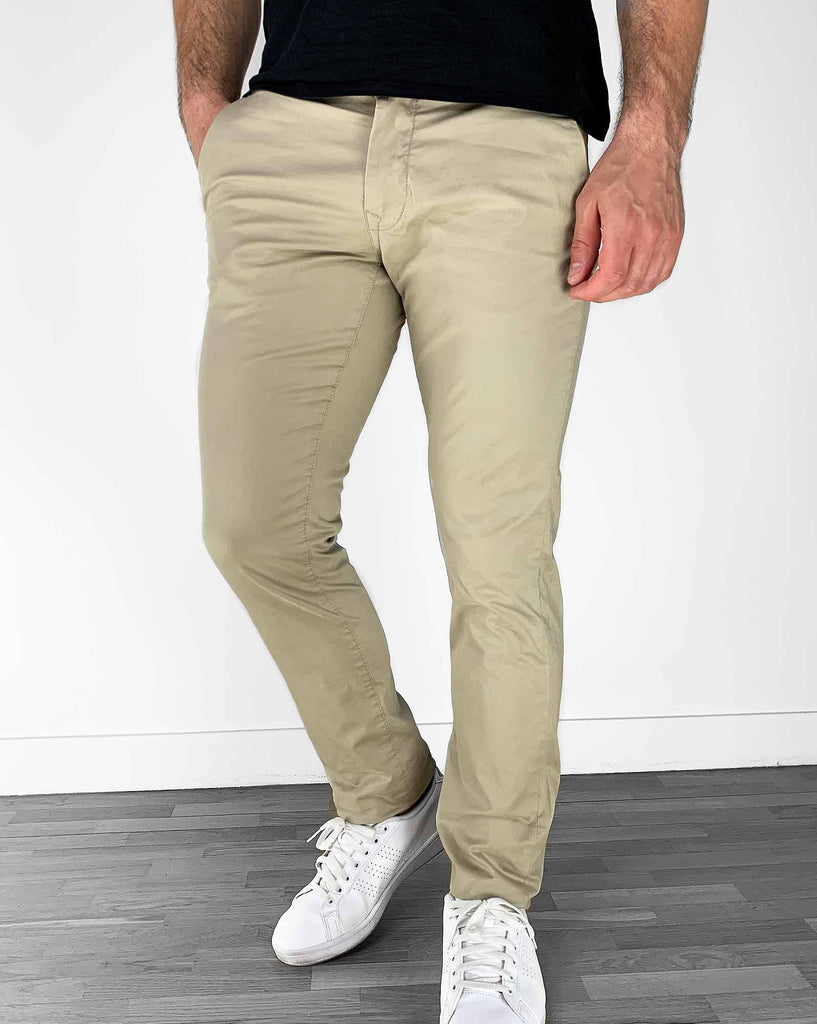 Pantalon chino beige slim stretch Teddy Smith homme