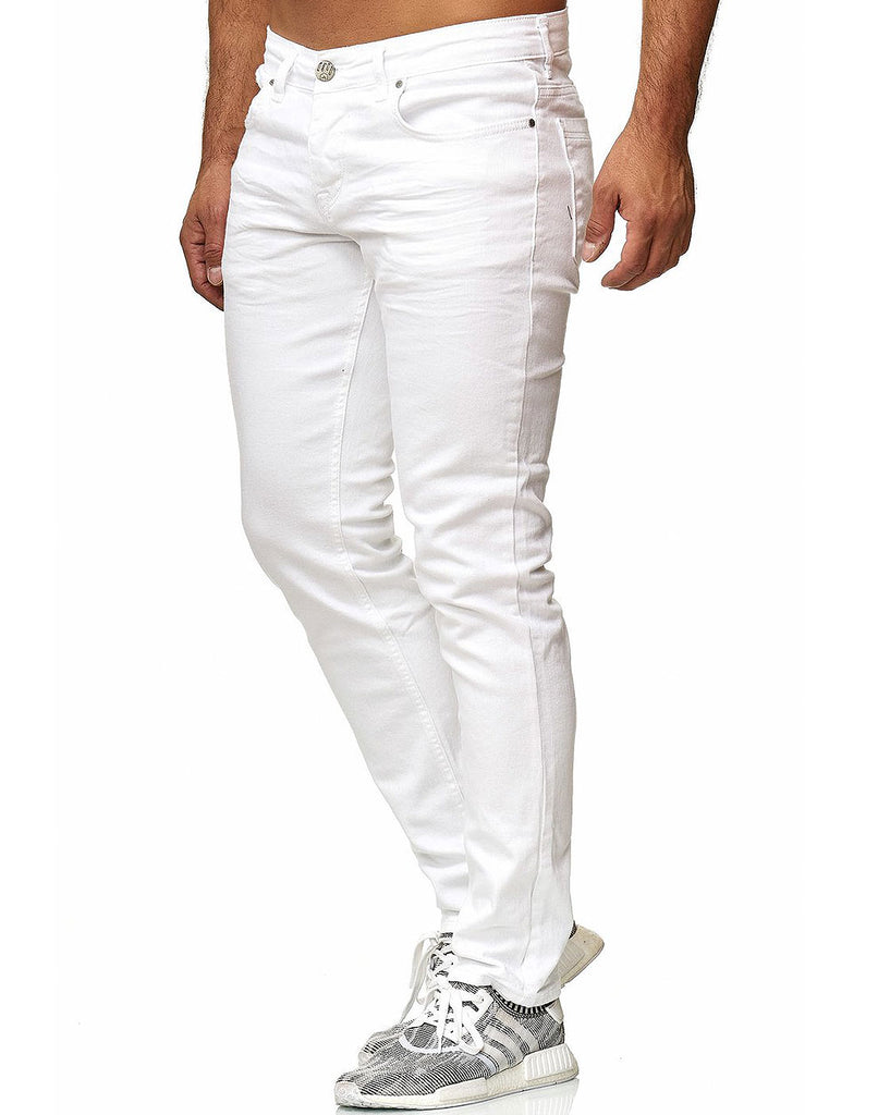 Jean blanc uni coupe ajustée slim stretch denim homme