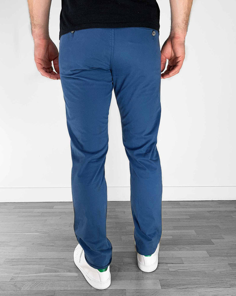 Pantalon chino slim bleu indigo stretch homme