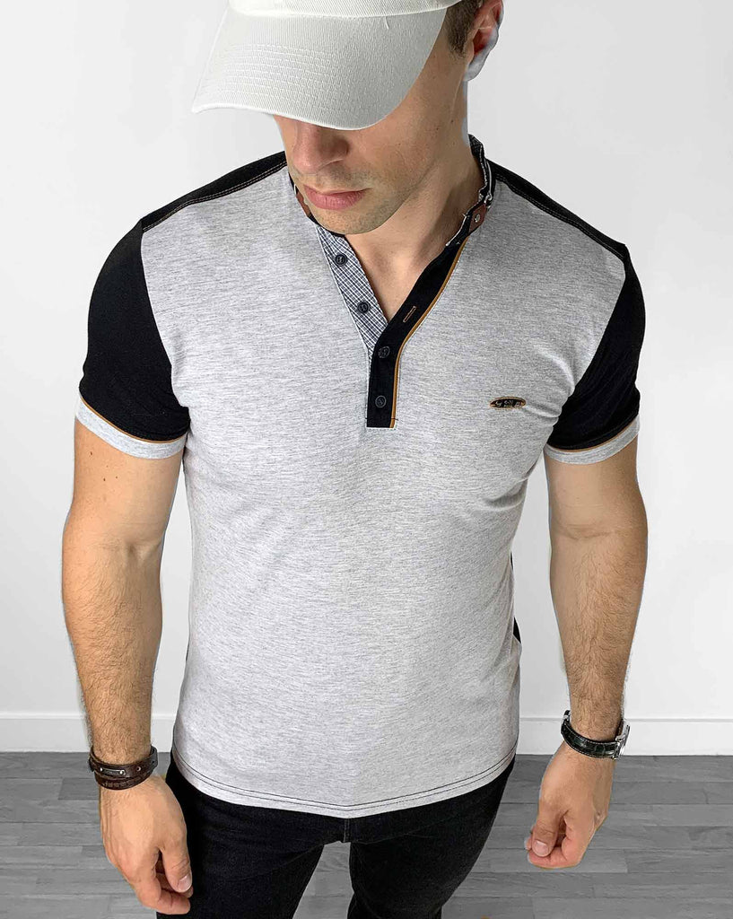 T-shirt gris col mao polo 3 boutons stylé pour homme