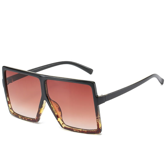 Oversize Black Leopard Tea Tinted Sunglasses