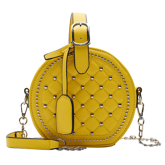 Yellow Classic Lozenge Pattern Shoulder Bag
