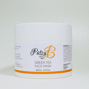 PatsyB Beauty Green Tea Clay Face Mask 100ml Vegan Friendly, Against Animal Testing, Paraben and Sulfate Free, Package Recyclable, Made in the UK