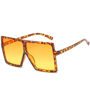 Leopard Orange Fashion Big Frame Sunglasses For Women