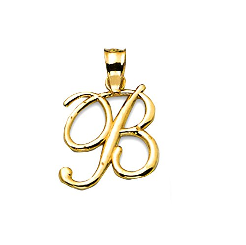 10k Gold Small Script Initial Charm Pendant (Available from A- Z)
