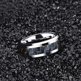 6mm/8mm Tungsten Ring Blue or Black Carbon Fiber Inlay