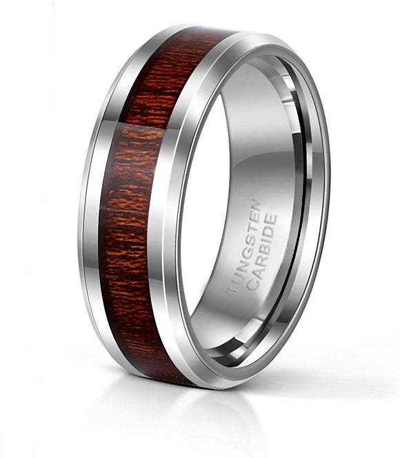 8mm Tungsten Ring Wood Inlay