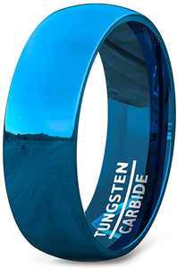 Tungsten Ring 8mm Blue Polished Dome Comfort Fit
