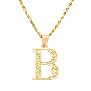 10K Yellow Gold Diamond Cut A - Z Alphabet Initial Letter Charm Pendant (Small Size)