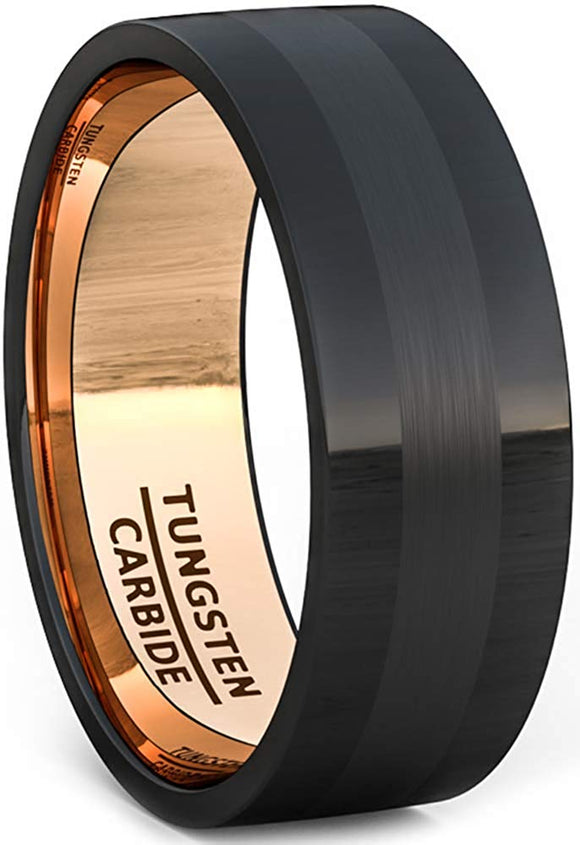 Black Tungsten Ring 8mm Rose Gold Polished with Brushed Inlay Flat Edge Comfort Fit