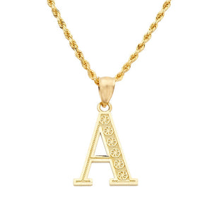 10K Yellow Gold Diamond Cut A to Z Alphabet Initial Letter Charm Pendant (Medium Size)