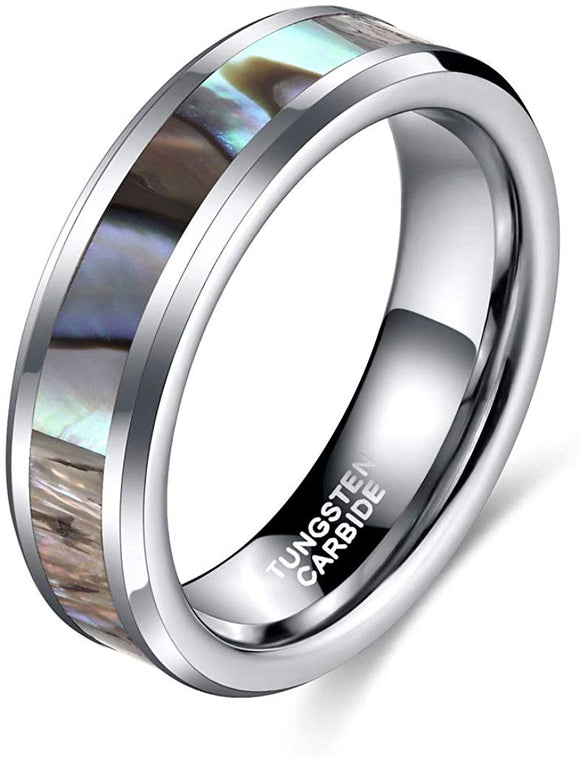 8mmTungsten Ring Abalone Shell Inlay