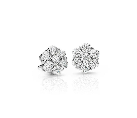1.05 ct. t.w. Diamond Floral/Flower Cluster Stud Earrings in 10kt White Gold