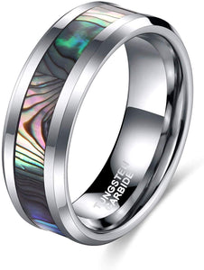 6mm Tungsten Ring Abalone Shell Inlay