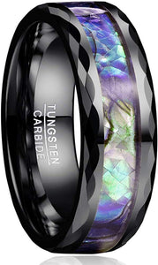8mm Abalone Shell Tungsten Carbide Ring Faceted Edge Comfort Fit  Black