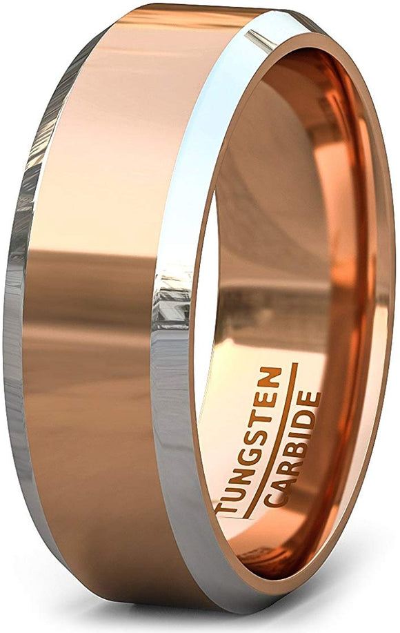 18k Plated Tungsten Ring 8mm Polished Beveled Two Tone Comfort Fit