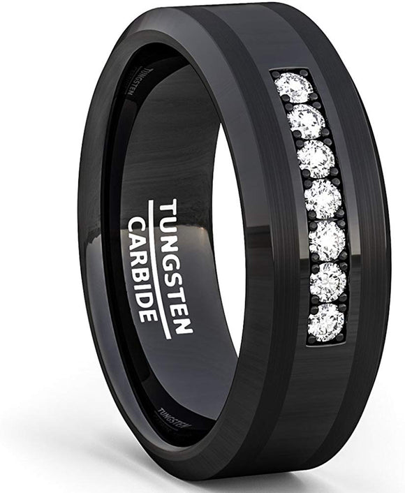 8mm Tungsten Carbide Ring 7 Stone White Sapphire Comfort Fit Black
